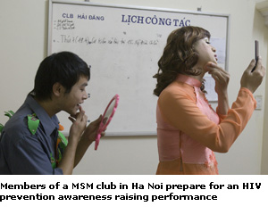 MSM night at a cafe in Hanoi, featuring a cross-dressing fashion show, karaoke songs, and a demonstration of how to properly use a condom.